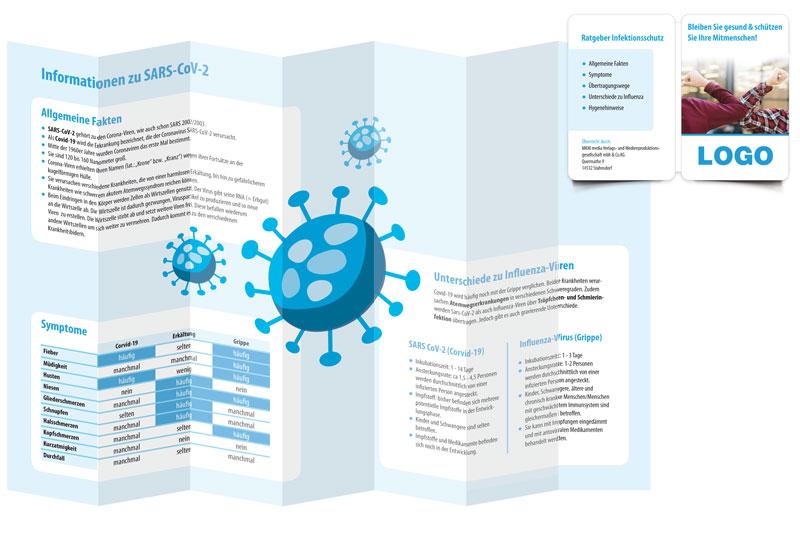Pocketplaner Ratgeber Infektionsschutz offen gefaltet stehend Vorderseite
