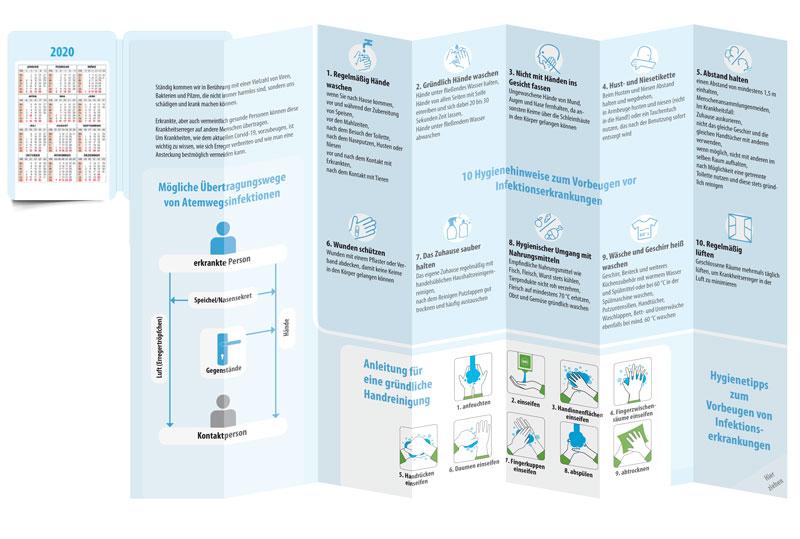 Pocketplaner Ratgeber Infektionsschutz offen gefaltet stehend Rückseite